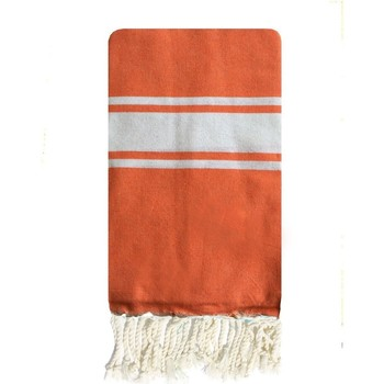 Vêtements Femme Paréos Traditions Med Fouta tunisienne en coton 3 bandes 1x2m tissage plat Orange