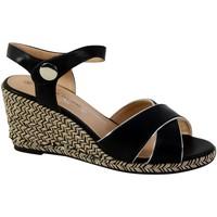 Chaussures Femme Escarpins The Divine Factory Sandale Compensée Femme QL3616 Noir