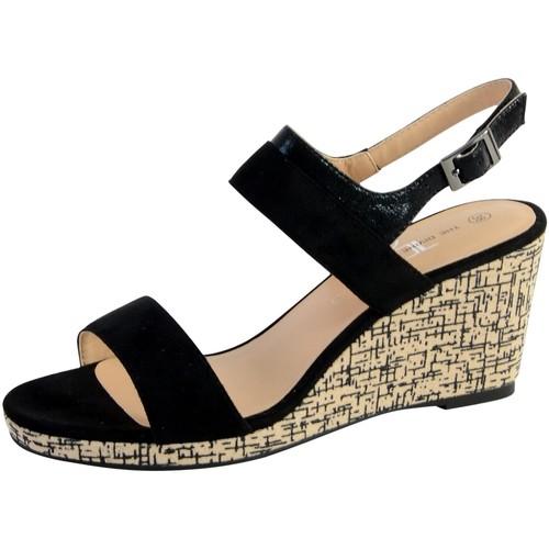 Ql3615 Sandale Femme Divine Factory The Compensée Livraison Noir nwO0kP