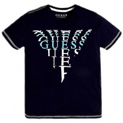 Vêtements Garçon T-shirts manches courtes Guess T-Shirt Garçon Logo imprimé devant L92I10 Navy Bleu