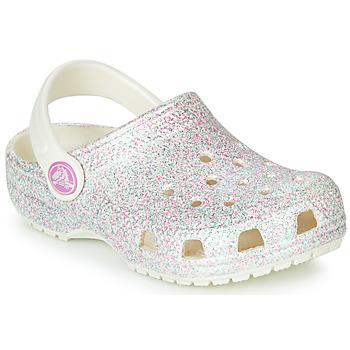 Chaussures Fille Sabots Crocs CLASSIC GLITTER CLOG K Blanc