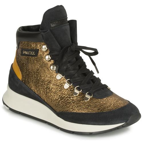 Chaussures Femme Baskets montantes Philippe Model MONTECARLO Doré / Noir