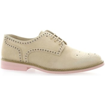 Chaussures So Send Derby cuir velours nude