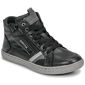 Chaussures Garçon Baskets montantes Geox JR GARCIA BOY Noir / Gris