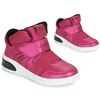 Chaussures Fille Baskets montantes Geox J XLED GIRL Rose Fuchsia / Noir / LED