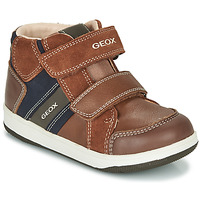 Chaussures Garçon Baskets montantes Geox B NEW FLICK BOY Marron / Bleu