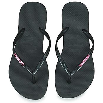 Chaussures Femme Tongs Havaianas SLIM LOGO METALLIC Noir