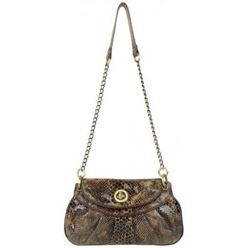 Sacs Femme Sacs Bandoulière LANCASTER Sac pochette chaîne  cuir motif python marron Marron