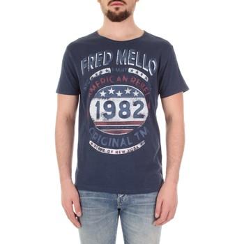 Vêtements Homme T-shirts manches courtes Fred Mello FM19S09TG bleu