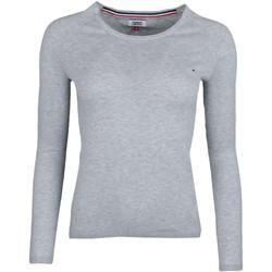 Vêtements Femme Pulls Tommy Jeans Pull col rond fin  gris liséré blanc pour femme Gris