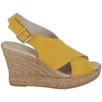 Espadrilles Walk And Love Sandale compensée croisée Citron