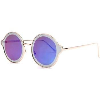 Montres & Bijoux Lunettes de soleil Eye Wear Lunettes soleil miroir bleues rondes fashion dorees Gaxy Bleu