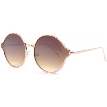 Montres & Bijoux Lunettes de soleil Eye Wear Grandes lunettes soleil rondes dorees fashion Gaxy Marron