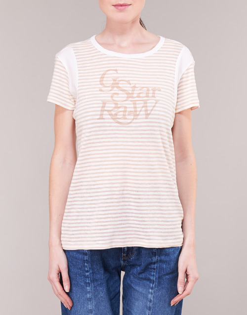 star T shirts Raw Courtes Femme Manches G Firn BlancRose knP80NOXw
