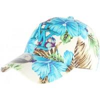 Accessoires textile Enfant Casquettes Hip Hop Honour Casquette enfant NY bleu et beige à fleurs 7 à 12 ans Bleu