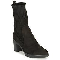 Chaussures Femme Bottines Wonders M3729-SUEDE-CALCETIN-NEGRO Noir