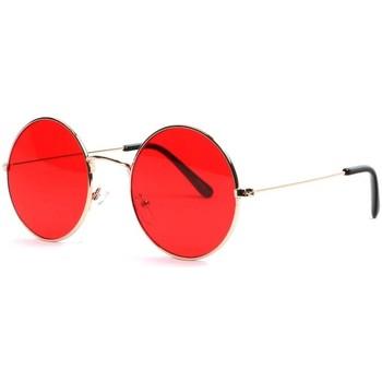 Montres & Bijoux Lunettes de soleil Eye Wear Lunettes soleil rondes rouges et dorees Fashion Odala Rouge