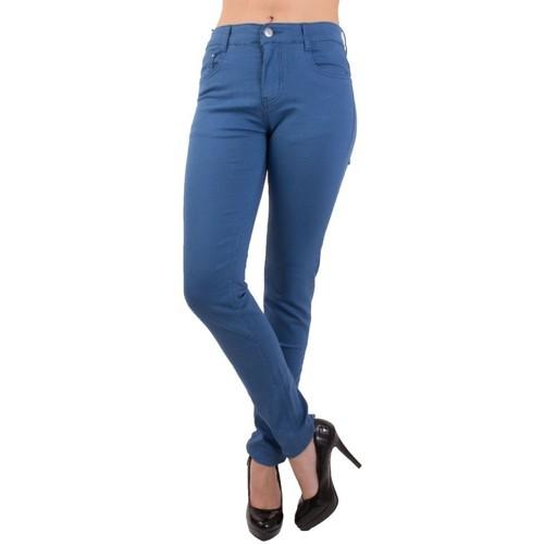 Vêtements Femme Jeans Primtex Jean  coupe slim  bleu roi taille haute 36-44 Bleu