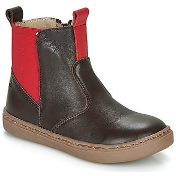 Chaussures Garçon Boots Citrouille et Compagnie JRYNE Marron/rouge