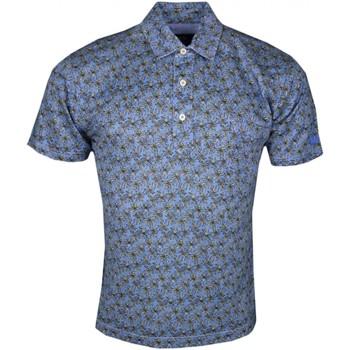 Vêtements Homme Polos manches courtes La Martina Polo  bleu imprimé palmier en lin pour homme Bleu