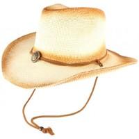 Accessoires textile Chapeaux Léon Montane Chapeau Cowboy Country Paille Beige et Marron Khelton Beige