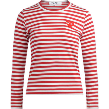 Vêtements Femme T-shirts manches longues sages femmes en Afriques T-shirt avec un col ras du cou rayé blanc et rouge Rouge