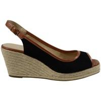 Chaussures Femme Espadrilles The Divine Factory Sandales Compensées TDFC541 Noir Noir