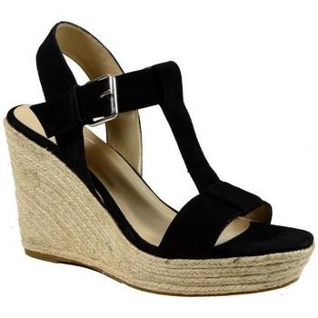 Chaussures Femme Espadrilles The Divine Factory Sandales Compensées Noir