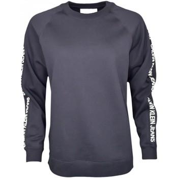 Vêtements Femme Sweats Calvin Klein Jeans Sweat col rond  noir inscription manches pour femme Noir