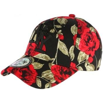 Accessoires textile Casquettes Hip Hop Honour Casquette NY Noire et Rouge Florale Fashion Baseball Bora Rouge