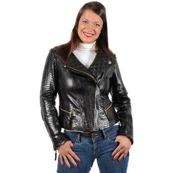 Vêtements Femme Blousons Giorgio Cuirs Blouson en cuir agneau façon python ref_33227 Noir Noir