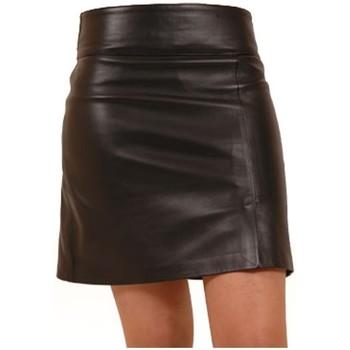 Vêtements Femme Jupes Giorgio Cuirs Jupe droite en cuir agneau ref_gio26638-noir Noir