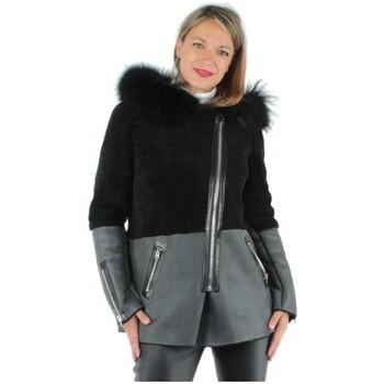 Vêtements Femme Sweats Giorgio Cuirs Veste en mouton retourné Giorgio ref_gio35434-gris gris foncé-noir