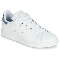 Chaussures Fille Baskets basses adidas Originals STAN SMITH J Blanc / argenté