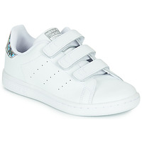 Chaussures Fille Baskets basses adidas Originals STAN SMITH CF C Blanc / argent