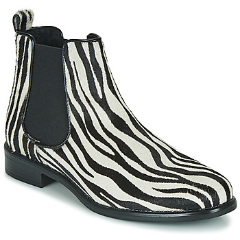 Chaussures Femme Boots Betty London HUGUETTE Noir / Blanc / Zebre