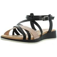 Chaussures Femme Sandales et Nu-pieds Marila Sandales plates cuir  ref_46320 Noir multi noir