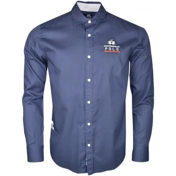 Vêtements Homme Chemises manches longues La Martina Chemise  bleu marine Team 1985 régular pour homme Bleu