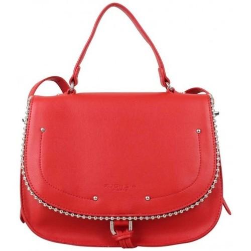 Sacs Femme Sacs porté main Fuchsia Sac main rabat  déco perle reliée Botton Rouge Rouge