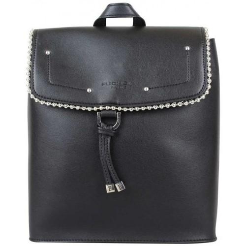 Sacs Femme Sacs à dos Fuchsia Sac à dos à rabat  déco perle reliée Botton Noir Noir