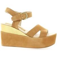 Chaussures Femme Sandales et Nu-pieds Borgoroma Bgoma Nu pieds cuir velours Cognac