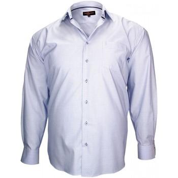Vêtements Homme Chemises manches longues Doublissimo chemise tissu armure honfleur bleu Bleu