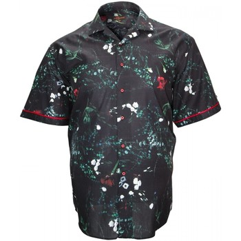 Vêtements Homme Chemises manches courtes Doublissimo chemisette mode flowerty noir Noir