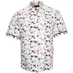 Vêtements Homme Chemises manches courtes Doublissimo chemisette imprimee belle ile blanc Blanc