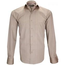 Vêtements Homme Chemises manches longues Emporio Balzani chemise fil a fil settimo beige Beige