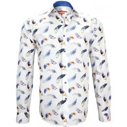 Vêtements Homme Chemises manches longues Andrew Mc Allister chemise imprimee feather bleu Bleu