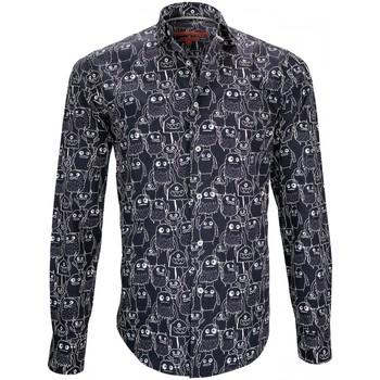 Vêtements Homme Chemises manches longues Andrew Mc Allister chemise imprimee monster bleu Bleu