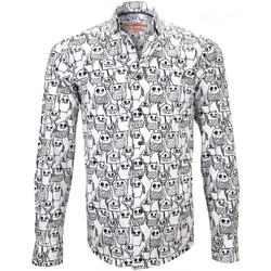 Vêtements Homme Chemises manches longues Andrew Mc Allister chemise imprimee monster blanc Blanc