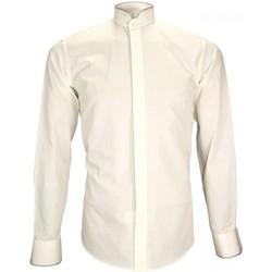 Vêtements Homme Chemises manches longues Andrew Mc Allister chemise col mao norfolk beige Beige