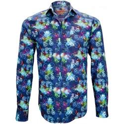 Vêtements Homme Chemises manches longues Andrew Mc Allister chemise imprimee bicycle bleu Bleu